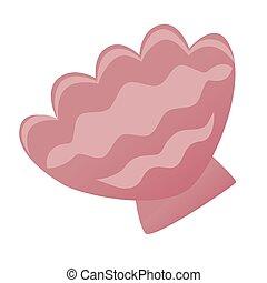 Pink seashell flat color illustration on white