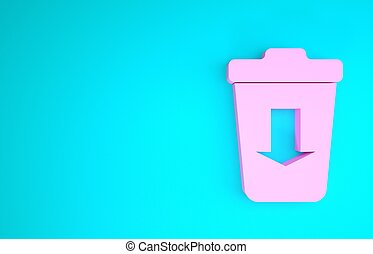 Pink Send to the trash icon isolated on blue background. Minimalism concept. 3d illustration 3D render