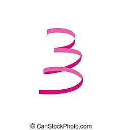 Pink serpentine icon, flat style