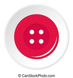 Pink sewing button icon circle
