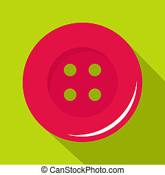 Pink sewing button icon, flat style