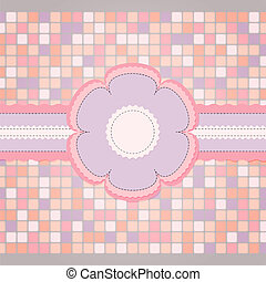 Pink sewing template for greeting card