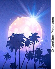 Pink shining moon with black palm trees silhouettes on violet background