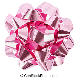 Pink, shiny gift bow isolated on white background, clipping path