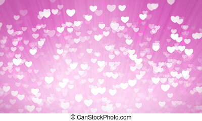 Pink Shiny Hearts Light Valentines Day Background.