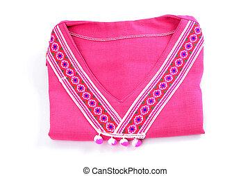 pink shirt folded on white background