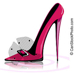 pink shoe - on a white background there is pink lady's shoe