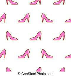 Pink shoe line icon seamless pattern.