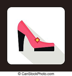 Pink shoes icon, flat style