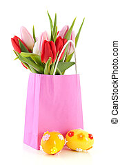 Pink shopping bag with tulips and eggs