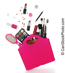 Pink shopping bag with various cosmetics isolated on white