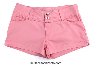 Pink womens shorts isolated on white background
