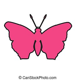 pink silhouette butterfly icon image