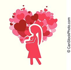 pink silhouette mom pregnancy and heart celebration