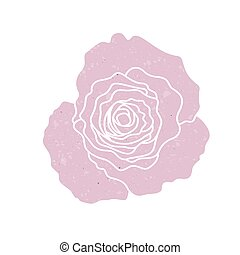 Pink silhouette of rose, vector illustration isolated on white background