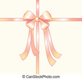 Pink silk bow - Pink silk ribbon with tied knot
