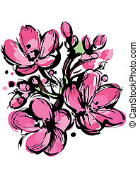 pink sketch of spring colors three buds - a pink sketch of...
