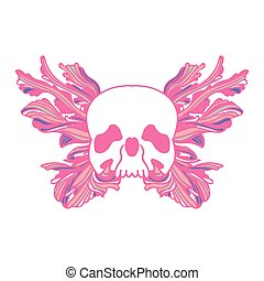 Pink Skull and butterfly