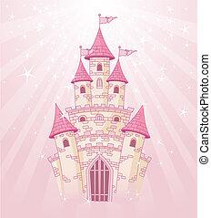 Pink Sky Castle - Illustration of a Fairy Tale princess pink...