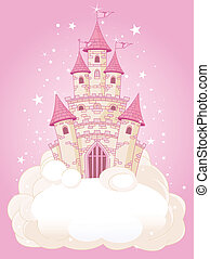 Pink Sky Castle - Illustration of a Fairy Tale princess pink...