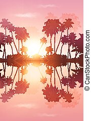 Pink sky vector palms silhouettes with reflection