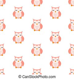 Pink Sleeping owl pattern. Vector illustration. Seamless pattern. Flat.