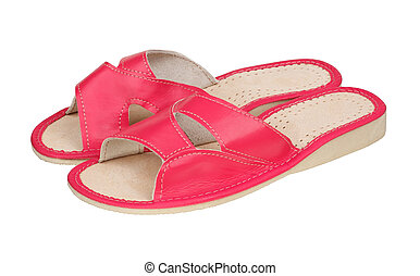 Pink slippers made of leather