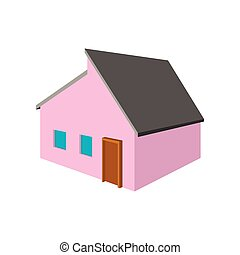 Pink small cottage cartoon icon