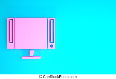 Pink Smart Tv icon isolated on blue background. Television sign. Minimalism concept. 3d illustration 3D render