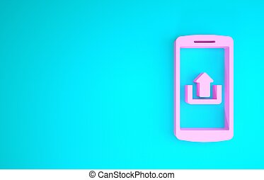 Pink Smartphone with upload icon isolated on blue background. Minimalism concept. 3d illustration 3D render