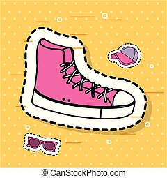 pink sneaker sport accessory icons sticker