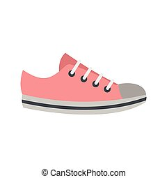 Pink sneakers icon, flat style