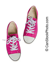 Pink Sneakers Isolated On White Background.