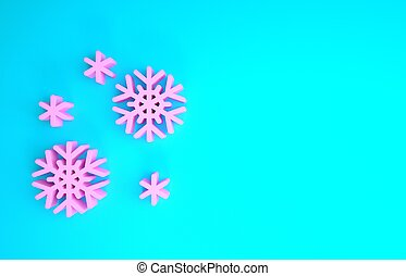 Pink Snow icon isolated on blue background. Minimalism concept. 3d illustration 3D render