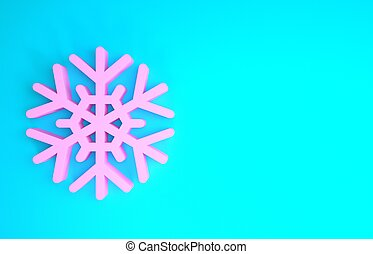 Pink Snowflake icon isolated on blue background. Minimalism concept. 3d illustration 3D render