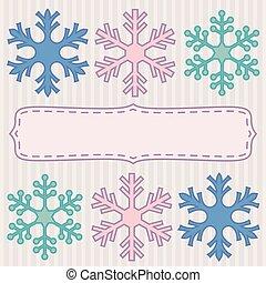 Pink snowflakes frame