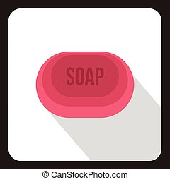 Pink soap icon, flat style