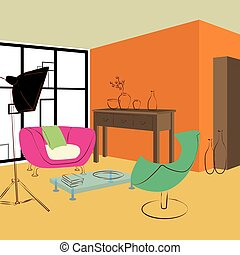 pink sofa and green chair in living room