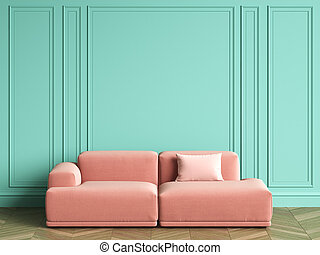 Pink sofa in classic interior with copy space
