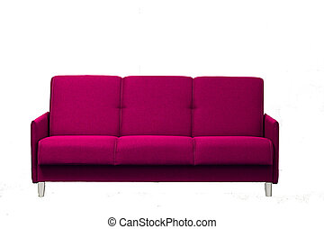 pink sofa on a white background isolated