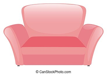 Pink sofa on white background