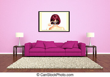 Pink sofa with picture attached to wall and brown carpet