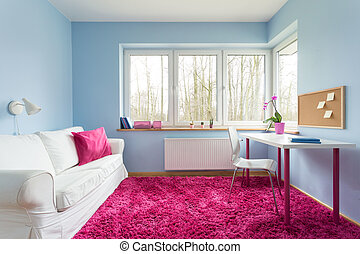 Pink soft carpet - Beautiful modern room with blue walls and...