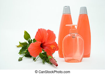 Pink Soft Soap And Shampoo With Flower - Herbal Soft Soap in...