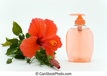 Pink Soft Soap With Flower - Herbal Soft Soap in Dispenser...