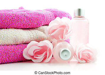 Pink spa accessory isolated on white background