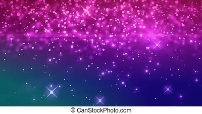 Pink sparkles and glowing spots moving against purple background
