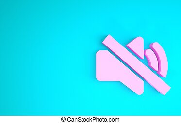 Pink Speaker mute icon isolated on blue background. No sound icon. Volume Off symbol. Minimalism concept. 3d illustration 3D render