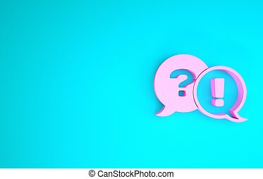 Pink Speech bubbles with Question and Exclamation icon isolated on blue background. FAQ sign. Copy files, chat speech bubble and chart. Minimalism concept. 3d illustration 3D render
