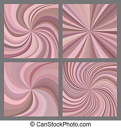 Pink spiral and starburst background set